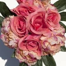 silk peonies silk peonies and roses bouquet coral home kitchen