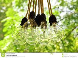 electric bulb garland hanging in summer backyard garden stock