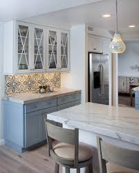 colorful kitchen design remodel with colorful blue and white tile