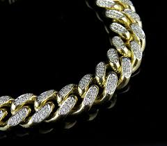 10mm diamond solid 10k yellow gold miami cuban link vs diamond 8 5 inch 12 9mm