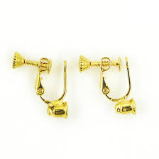 earring pierced on no bend pierced to clip earring converter gold 1 pair
