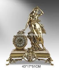 european antique crafts table bronze clock luxury brass figurine