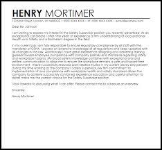 application letter for supervisor position sample safety supervisor cover letter sample livecareer