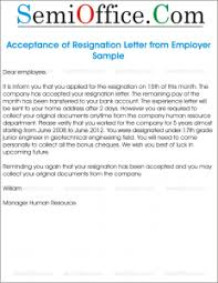 resignation acceptance letter sample