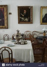 living room in house of writer leo tolstoy in yasnaya polyana is