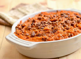 sweet potato casserole with rum and candied pecans rings