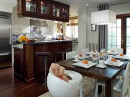 great looking open kitchen design with rectangle wooden dining