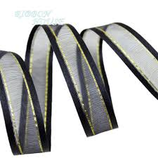 organza ribbon wholesale 20mm black broadside gold edge organza ribbons wholesale gift