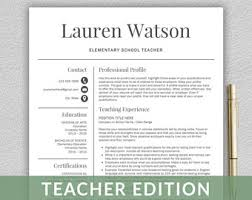 teaching resume template teaching resume etsy
