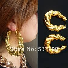 Hoop Earrings With Name Online Shop Hiphop Cheap Gold Silver Bamboo Hoop Earring Jewelry