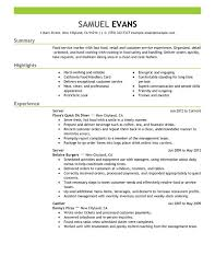 server resume template resume template unforgettable fast food server resume with