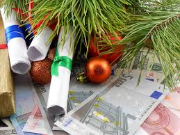 decorated christmas tree with money gift traditional winter