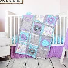 Purple And Aqua Crib Bedding Baby Crib Set Purple Baby Bedding Rag Quilt Crib Skirt