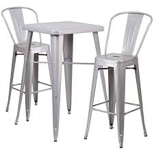 Amazon Com Flash Furniture 23 75 Square Silver Metal Indoor