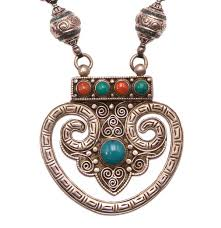 tibetan silver turquoise necklace images Tibetan medallion turquoise coral sterling silver necklace jpg