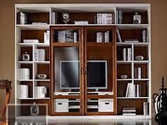 libreria tv librería de madera maciza con soporte para tv vivre librería