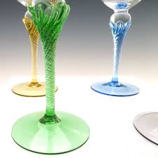 vintage colored stem wine glasses hand blown crystal from