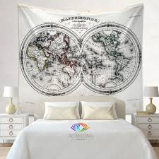 Antique World Map by Antique Old Map Wall Tapestry Vintage World Map Wall Hanging Old