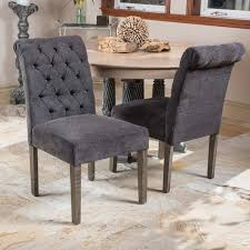 Grey Fabric Dining Room Chairs Dinah Roll Top Grey Fabric Dining Chair Set Of 2 By