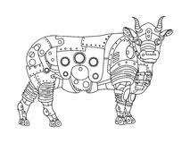 pattern coloring book bull stock vector image 66203445
