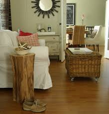 decor log bedside table and tree stump coffee table