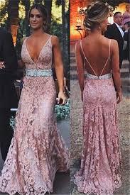 blush pink lace 2017 evening dresses long deep v neck spaghetti