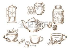 sketched tea icons with jars honey and raspberry jam french