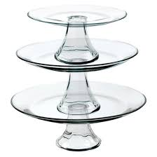 tier cake stand anchor hocking tiered pedestal serving plates set of 3 target