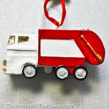 garbage truck ornament at the lake