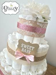 pink and lacey burlap shabby chic diaper cake for baby shower