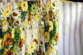 White Curtains With Yellow Flowers Pair Vintage Curtains Drapes Yellow Flowers Green Leaves Brown And