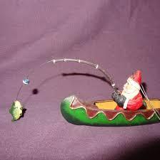 santa claus fishing canoe ornament fish tree 7