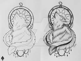 dreamcatcher wolf by theresedrawings on deviantart
