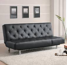 Black Tufted Sofa by Black Vinyl Tufted Sofa Bedoversize Chaise Big City Futon