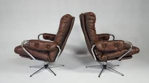 Antique Leather Swivel Chair Vintage Leather Swivel Chair Set Of 2 For Sale At Pamono