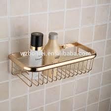 gold finishing brass bathroom storage rack metal shower basket