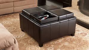 Leather Ottoman With Storage And Tray by Amazon Com Harley Leather Espresso Tray Top Storage Ottoman