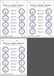 telling time worksheets half past pack 5