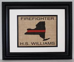 posters prints home decor men firefighter thin red line across any us state personalized burlap wall art