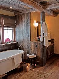 Rustic Bathrooms Designs by Modern Rustic Bathroom Design Twin Floating Lamps On Cream Tile