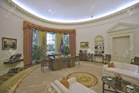 replica of the white house oval office on display at the ronald