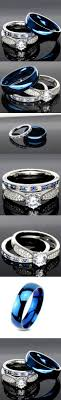blue steel rings images His and hers 925 sterling silver blue saphire stainless steel jpg