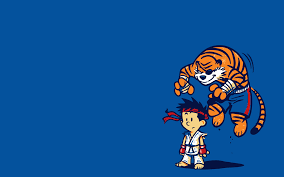 simplywallpapers com calvin and hobbes ryu sagat street fighter