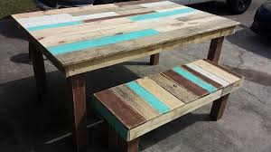 Table With Benches Set Pallet Dining Table And Bench Set Pallet Furniture Diy