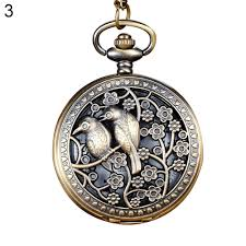 pocket watch chain necklace images Vintage hollow flower bird quartz pocket watch pendant chain jpg