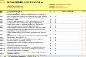 Requirements Template Excel Human Resource System Requirements Specification Sle Page