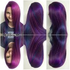 cosmic purple and blue pinwheel hair color