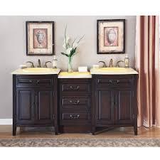 Double Trough Sink Bathroom Vanity Bathroom Silkroad 72 Inch Double Sink Vanity Eellow Onyx Vanities