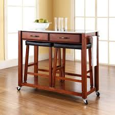furniture brown wooden portable kitchen island with seating plus