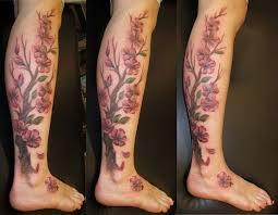 cherry blossom tree on leg tattoomagz